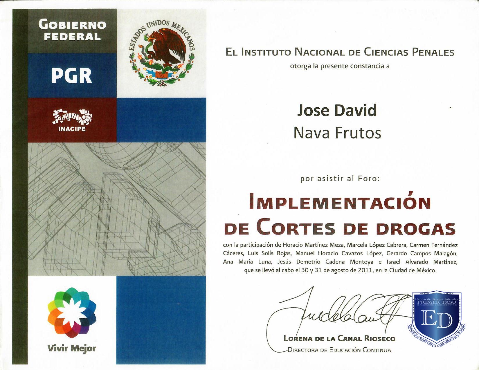 Constancia PGR Cortes de Drogas - David Nava