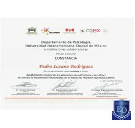 Rehabilitación Integral de las Adicciones para Directores y Servidores de Centros de Tratamiento Residenciales en el Marco del Proyecto PsycoeduCRAMAA