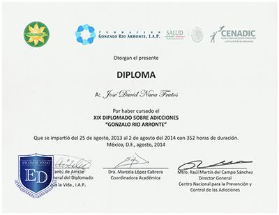 Diplomado de Adicciones Gonzalo Rio Arronte - David Nava
